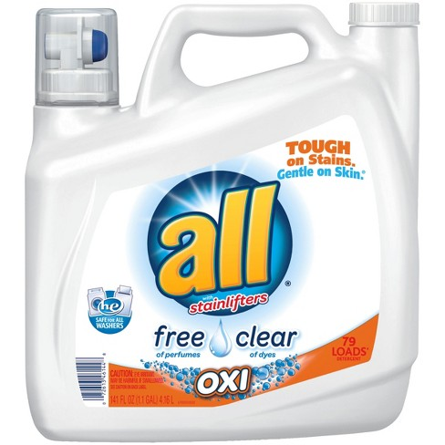all® Ultra Free Clear OXI HE Liquid Laundry Detergent 141oz- 79 loads - image 1 of 4