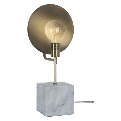 Loewy Brass Reflector Table Lamp With Marble Base Brass Includes