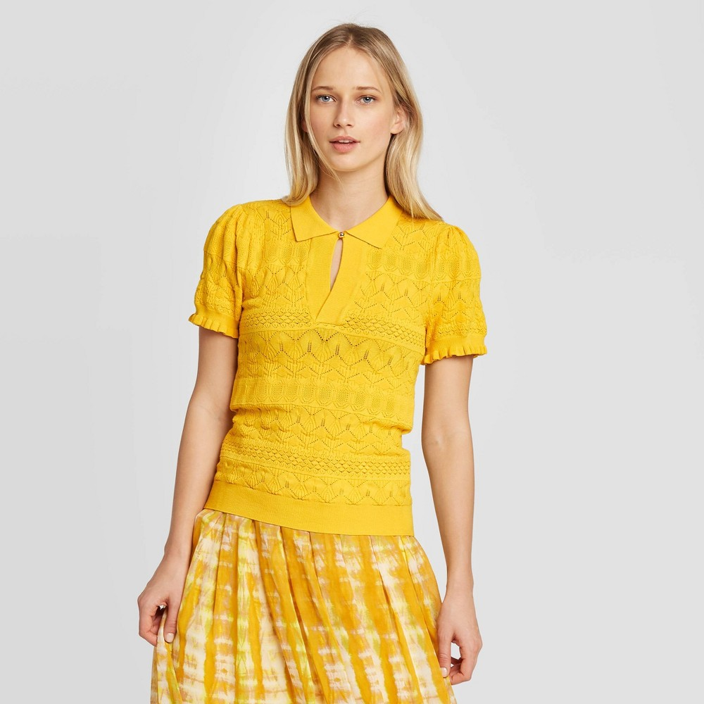 Women's Short Sleeve Pointelle Polo Pullover Sweater - Who What Wear Yellow XS, Women's was $29.99 now $20.99 (30.0% off)