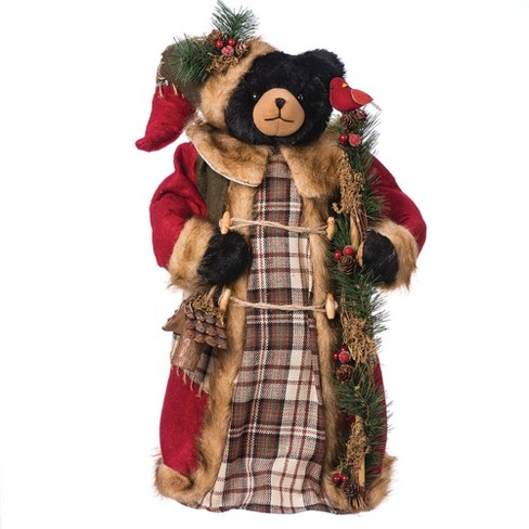 "18"" Black Bear with Plaid Coat Tree Topper - image 1 of 1"