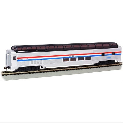 achmann Trains 13004 Amtrak Phase III HO Scale #10031 Ocean View 85 Foot Budd Full Dome Train with E-Z Mate Couplers, Silver