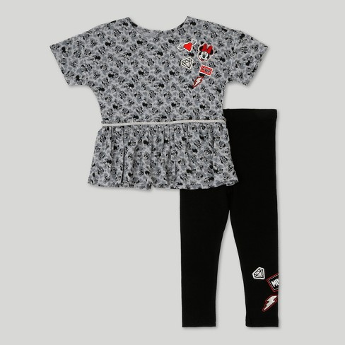 Toddler Girls' Minnie Mouse T-Shirt And Leggings Set - Disney Heather Gray 4T - image 1 of 5