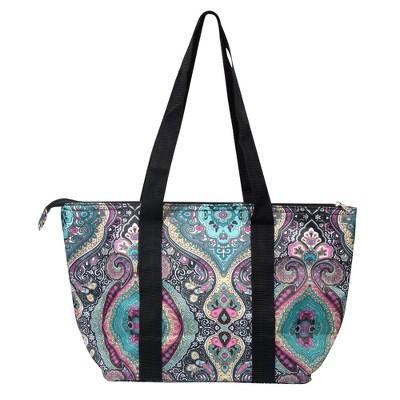 Zodaca Women Lunch Picnic Handbag Insulated Leak Rresistant Tote Carry Bag - Blue Paisle