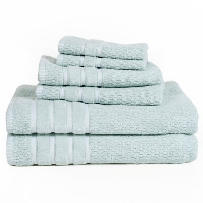 6pc Combed Cotton Bath Towels Sets Light Blue - Yorkshire Home