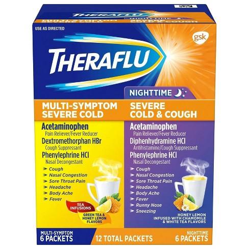 Theraflu Multi-Symptom Severe Cold Day/Night Powder - Acetaminophen - Green Tea/Honey Lemon - 6ct/2pk - image 1 of 4