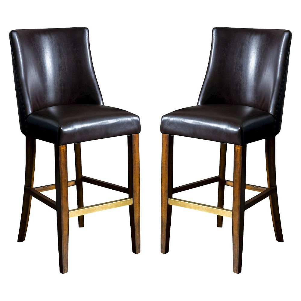 31 Harman Barstool (Set of 2) - Brown Bonded Leather - Christopher Knight Home