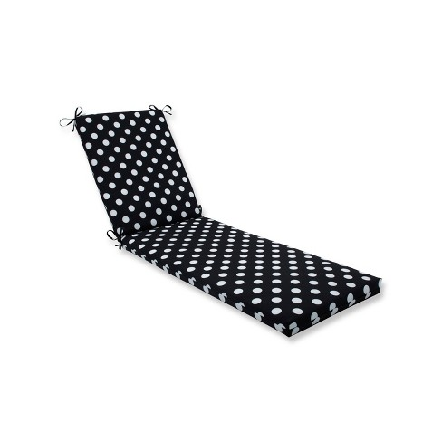 Indoor Outdoor Polka Dot Black Chaise Lounge Cushion Pillow Perfect