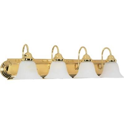 4 Light Bath Sconce with Alabaster Glass Polished Brass - Aurora Lighting