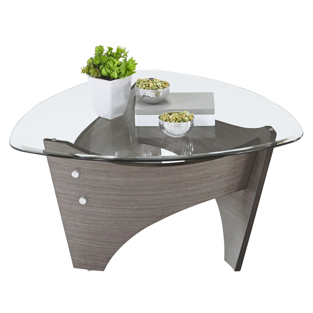 Tristar Round Cocktail Table- Gray Walnut - Progressive Furniture, Dark Gray