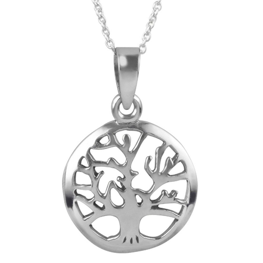 Women's Journee Collection Tree Pendant Necklace in Sterling Silver - Silver (18)