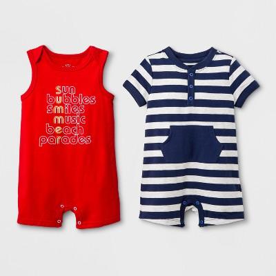 Baby Boys' 2pk Short Sleeve Bodysuit with Kangaroo Pocket and Sleeveless Romper Set - Cat & Jack™ Red/Navy Newborn