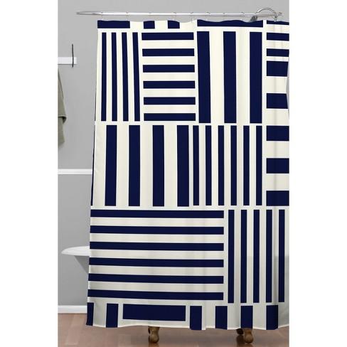 Caf Du Monde Shower Curtain Navy White