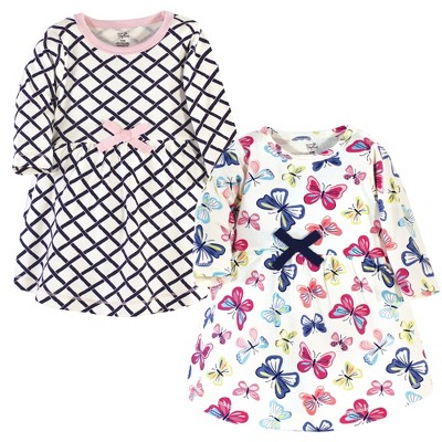 Touched by Nature Baby and Toddler Girl Organic Cotton Long-Sleeve Dresses 2pk, Bright Butterflies