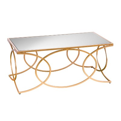 Dashner Geometric Cocktail Table With Mirrored Top Deep Gold - Aiden Lane