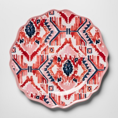 Melamine Dinner Plate 10.5  Pink/Red Ikat - Opalhouse™