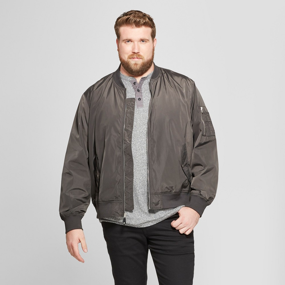 Men's Big & Tall Matte Bomber Jacket - Goodfellow & Co Charcoal (Grey) 5XBT