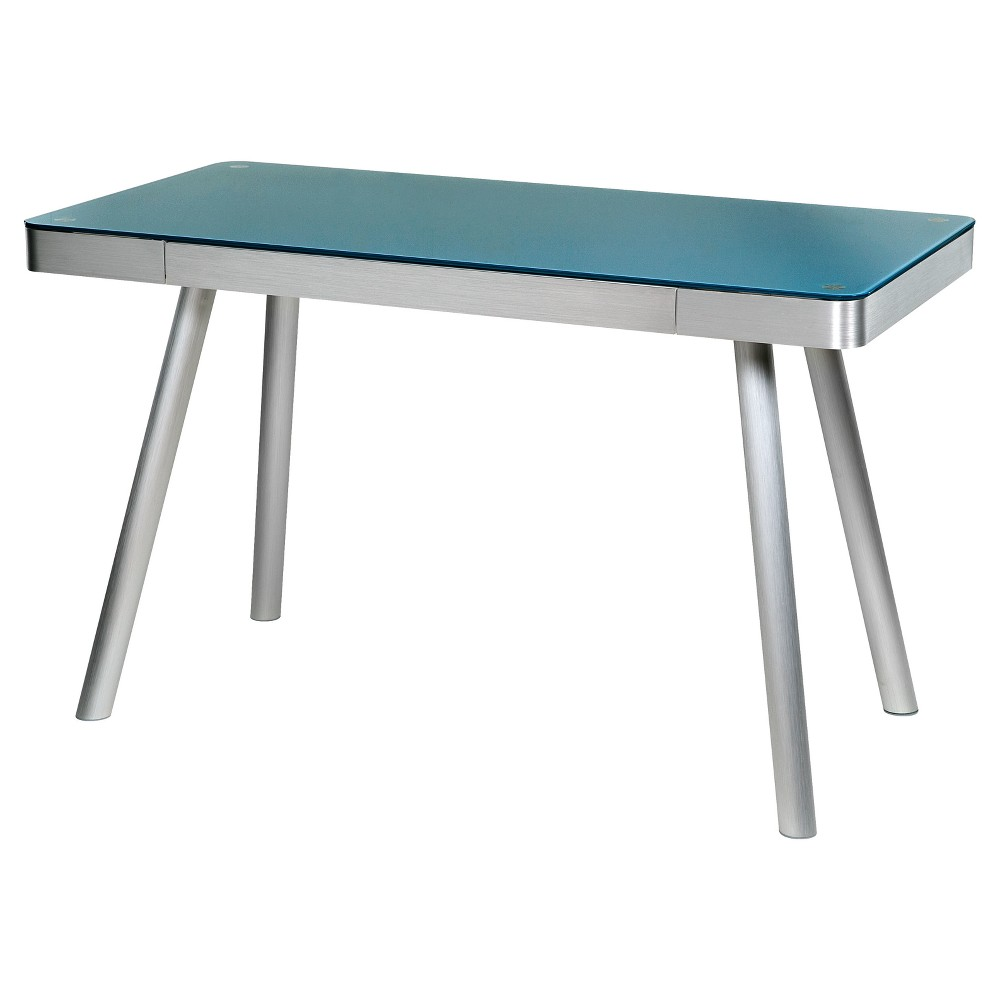 Image of Cool Blue Glass Writing Desk with Brushed Aluminum Frame Chrome - Onespace
