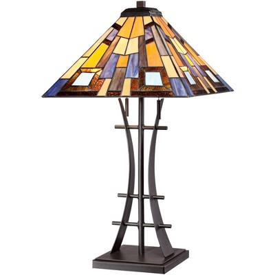 Robert Louis Tiffany Jewel Tone Tiffany-Style Art Glass Lamp with Table Top Dimmer