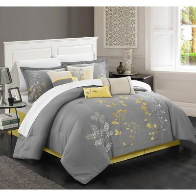 King 12pc Fortuno Comforter Set Yellow - Chic Home Design