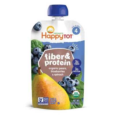 HappyTot Fiber & Protein Organic Pears Blueberries & Spinach Baby food - (Select Count)