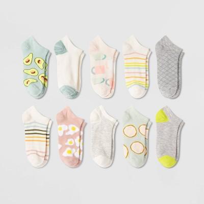Women's Breakfast 10pk Low Cut Socks - Xhilaration™ Blue/Gray/Pink 4-10