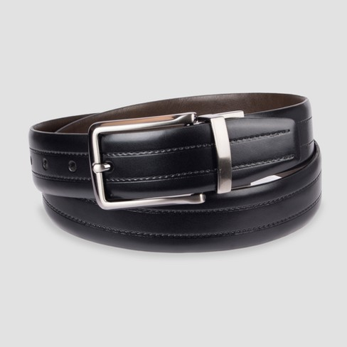 Men's 35mm Feather Edge with Emboss Reversible Belt - Goodfellow & Co™ Black - image 1 of 2