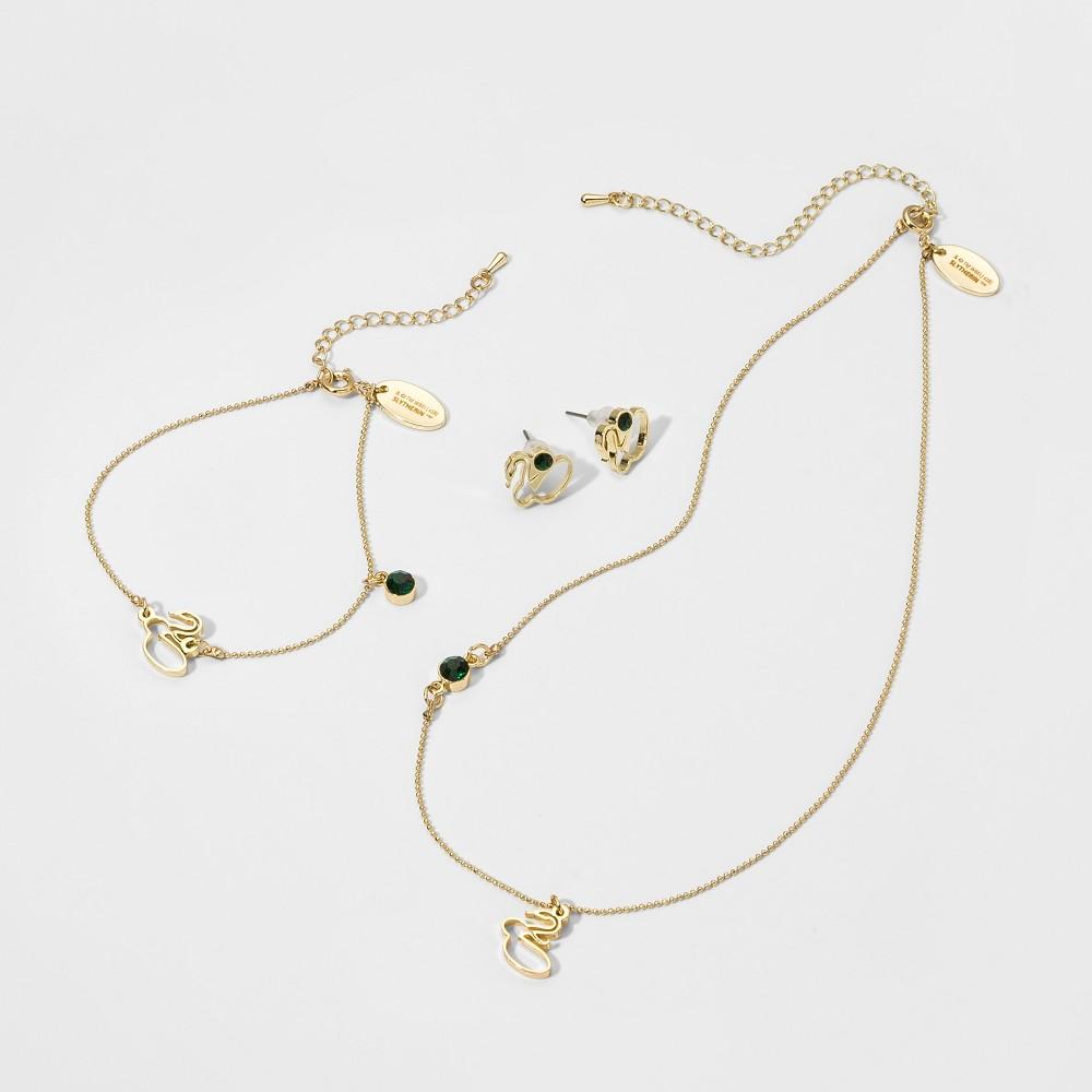 Girls' Harry Potter Slytherin 3pc Earring Bracelet & Necklace Set, Multi-Colored