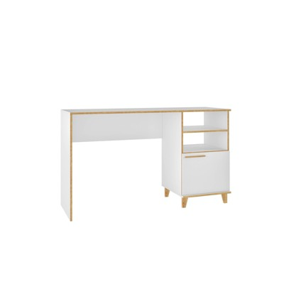 Minetta 2 Shelf Mid Century Office Desk White - Manhattan Comfort