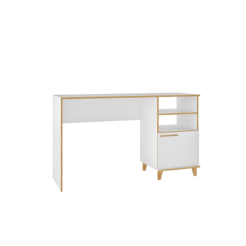 Minetta 2 Shelf Mid Century Office Desk White Manhattan Comfort