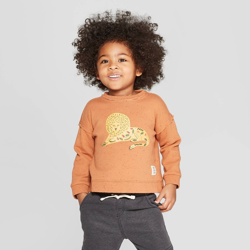Toddler Boys' Lion Graphic Sweatshirt - art class Brown 18M, Orange