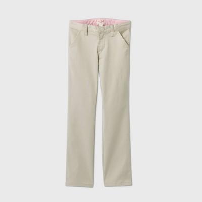 Girls' Flat Front Stretch Uniform Straight Fit Chino Pants - Cat & Jack™ Light Khaki