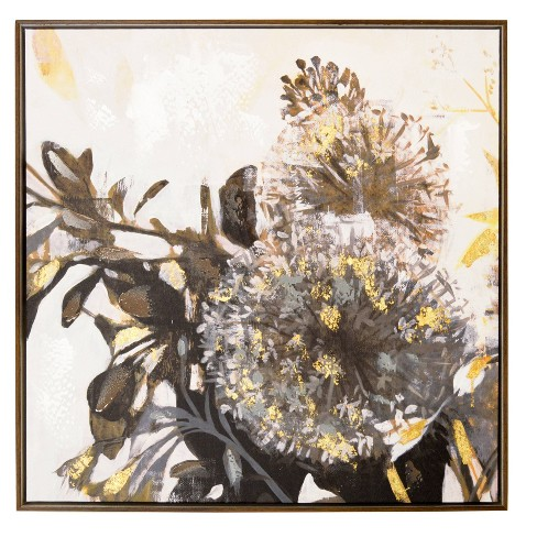 """24"""" x 24"""" Gray Floral Embellished Framed Canvas Black/Gold - New View - image 1 of 4"""