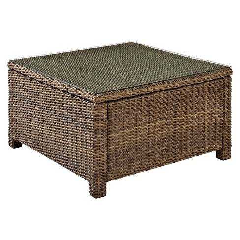 Crosley Bradenton Outdoor Wicker Sectional Glass Top Coffee Table - image 1 of 3