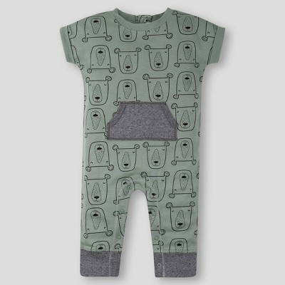 Lamaze Baby Boys' Organic Cotton Bear Romper - Green 9M