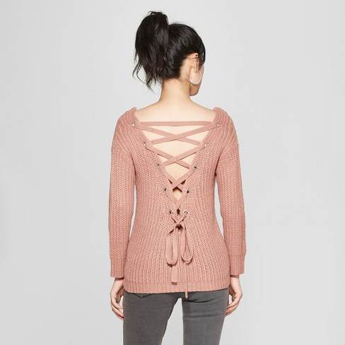 Womens Long Sleeve Lace Up Back Sweater Love At First Sight