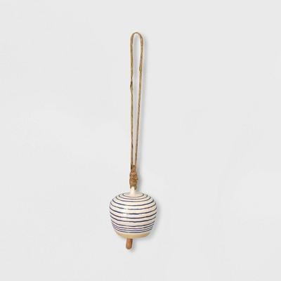 12  Ceramic Blue Striped Bell Chime White - Opalhouse™