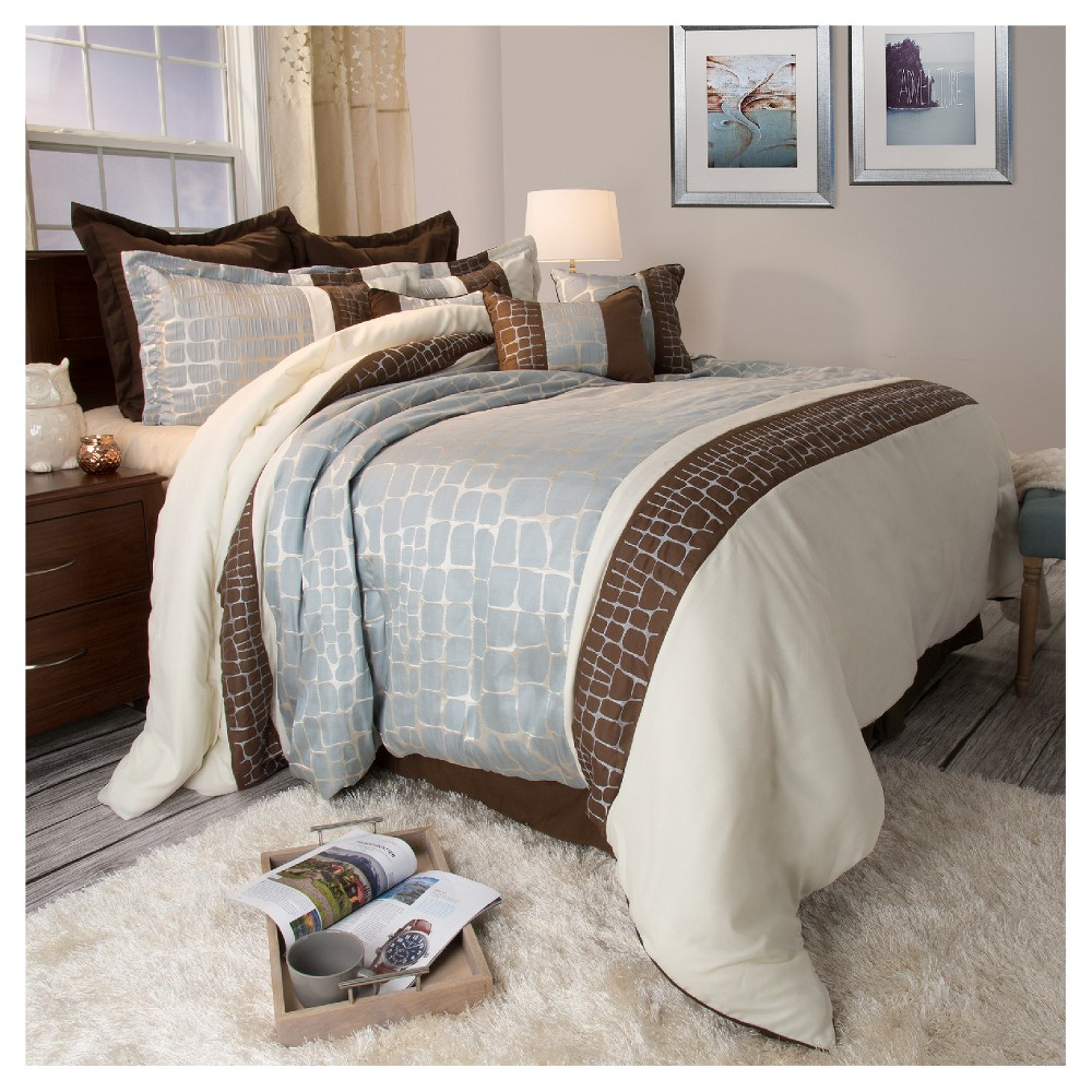 Ashley 9 Piece Comforter Set (Queen) Silver - Yorkshire Home