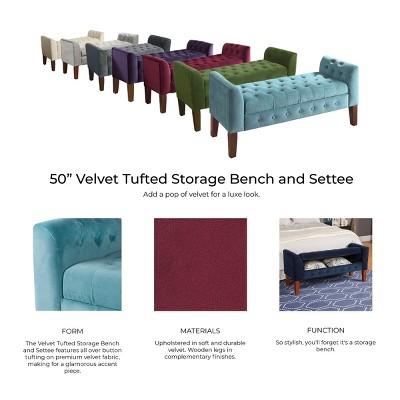 Beau Velvet Tufted Storage Settee Bench
