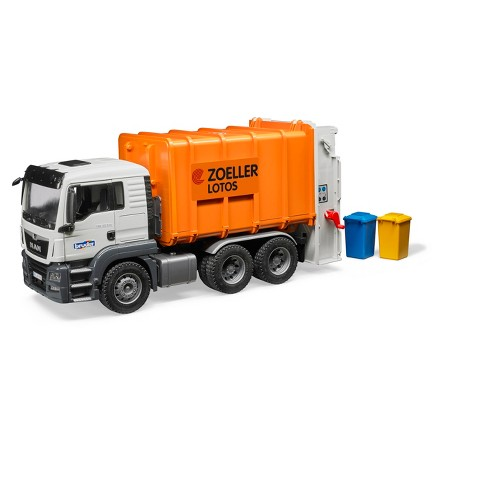 Bruder Toys MAN TGS Rear-Loading Orange Garbage Truck - 1/16 Scale Realistic, Functional Toy Garbage Collection Vehicle - image 1 of 2
