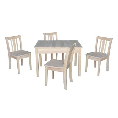 Kids' Storage Table with 4 San Remo Juvenile Chairs Unfinished - International Concepts