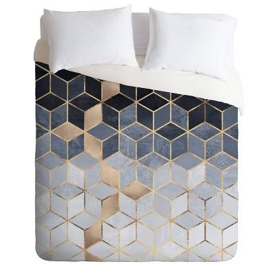Elisabeth Fredriksson Soft Gradient Cube Duvet Set Blue - Deny Designs