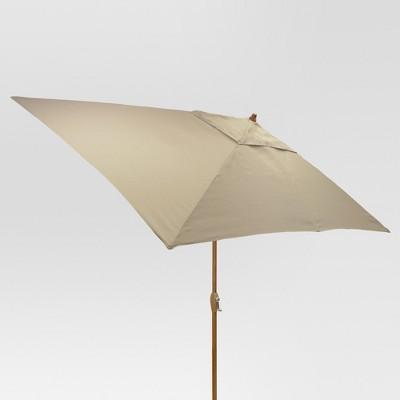 10' x 6' Rectangular Umbrella - Tan - Medium Wood Finish - Threshold™