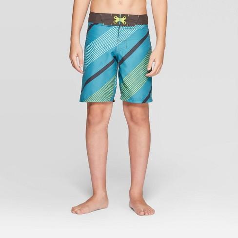 Boys' Diagonal Stripe Swim Trunks - art class™ Dark Teal - image 1 of 3