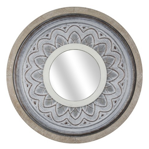 "25.2""x1.18""x25.2"" Round Metal And Wood Wall Mirror White - E2 Concepts - image 1 of 6"