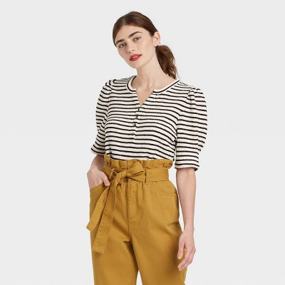 Women's Striped Puff Elbow Sleeve Henley Shirt - Who What Wear™