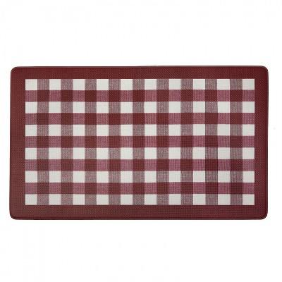 "1'5""x2'5"" Rectangle Plaid Floor Mat Red - GoodGram"