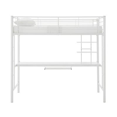 Full Premium Metal Loft Bed with Wood Workstation - Saracina Home