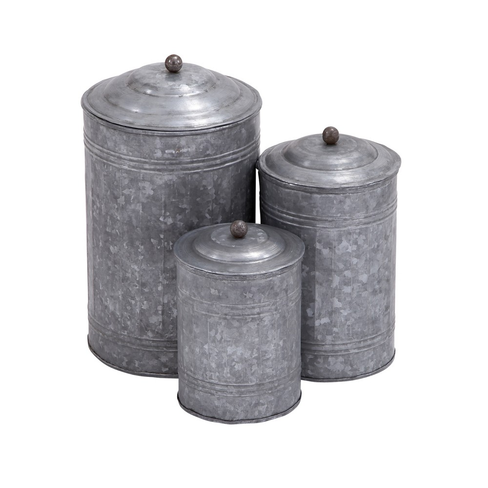 Image of 3pc Decorative Galvanized Metal Canister Set Silver - Olivia & May, Gray
