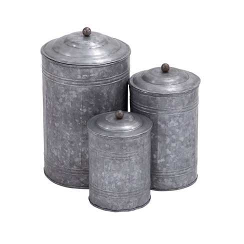 3pc Decorative Galvanized Metal Canister Set Silver - Olivia & May - image 1 of 4