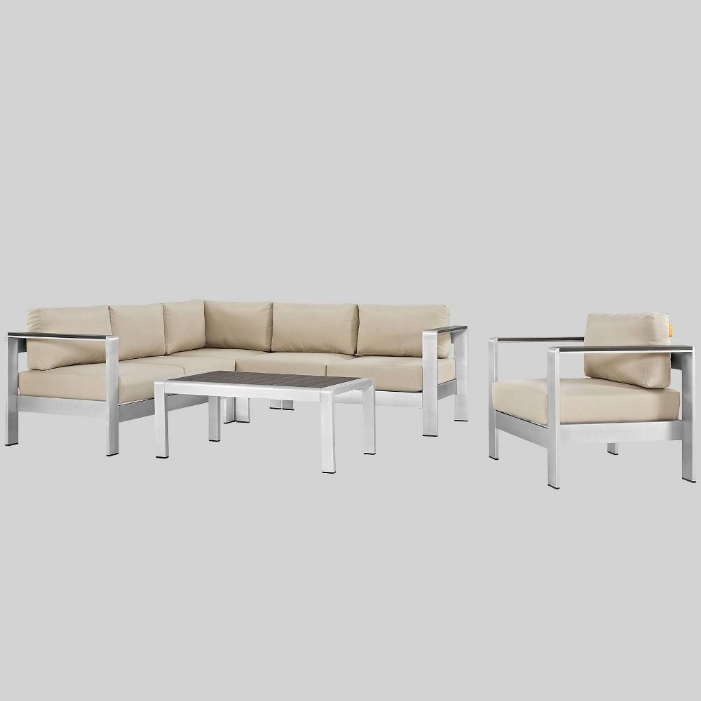 Shore 5pc Outdoor Patio Aluminum Sectional Sofa Set - Beige - Modway